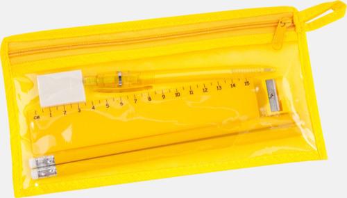 Gul Pennskrin med pennor, linjal, vässare och sudd - med tryck