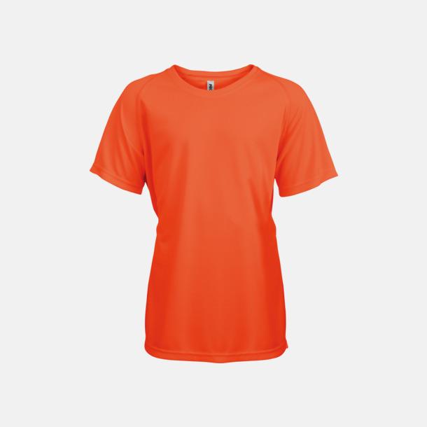 Fluorescerande Orange Funktions t-shirts i många färger för barn - med reklamtryck