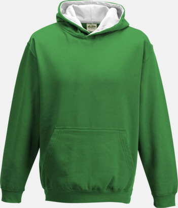 Kelly Green/Arctic White Varsity Hoodie Contrast i barnmodell med reklamtryck