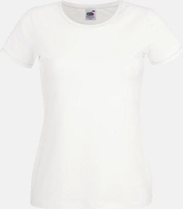 Vit Dam t-shirt med reklamtryck