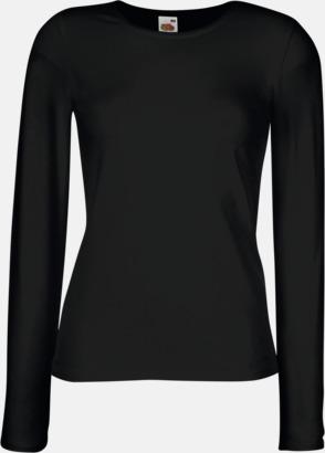 Svart Långärmad damt-shirt med reklamtryck