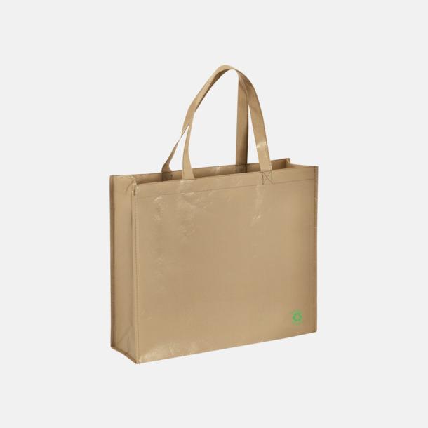 Beige Shoppingbagar med korta handtag - med tryck