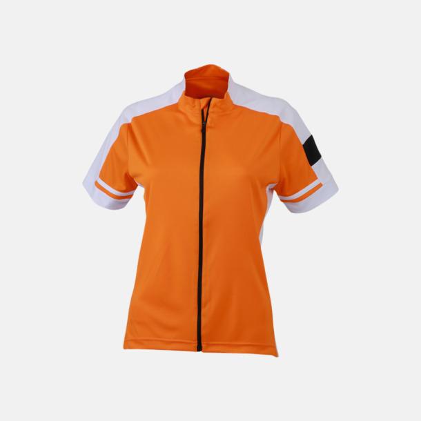 Orange (dam) Herr- och damcykeltröjor med hel dragkedja - med reklamtryck
