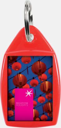 Röd Nyckelringar i olika former med digitaltryck