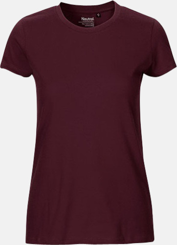 Bordeaux (dam) Fitted t-shirts i ekologisk fairtrade-bomull med tryck