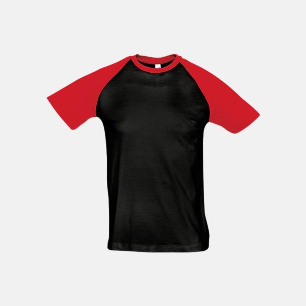 Svart/Röd (herr) T-shirts i herr- och dammodell med kontrasterande färg - med reklamtryck