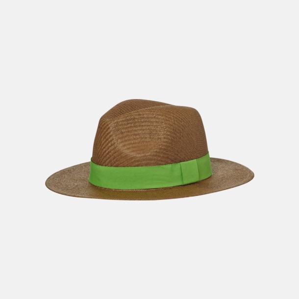 Nougat/Limegrön Hatt i ledig sommarstil med reklamtryck