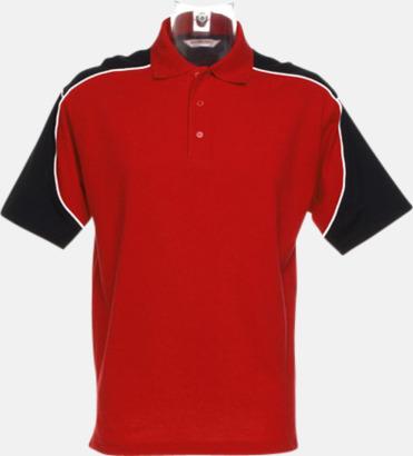 Röd/Svart/Vit Sportiga pikétröjor för i herrmodell - med reklamtryck eller -brodyr
