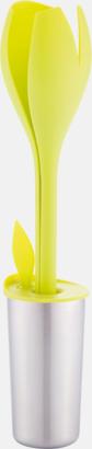 Limegrön / Silver Salladsbestick med dressingsskål - med reklamtryck