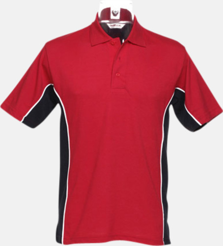 Röd/Marinblå/Vit Sportiga pikétröjor med reklamtryck eller -brodyr