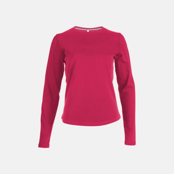 Fuchsia (crewneck, dam) Långärmad t-tröja med rundhals för herr och dam med reklamtryck