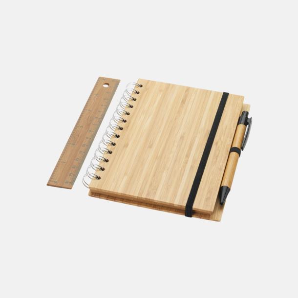 Spiralblock i bambu med tillbehör med reklamtryck