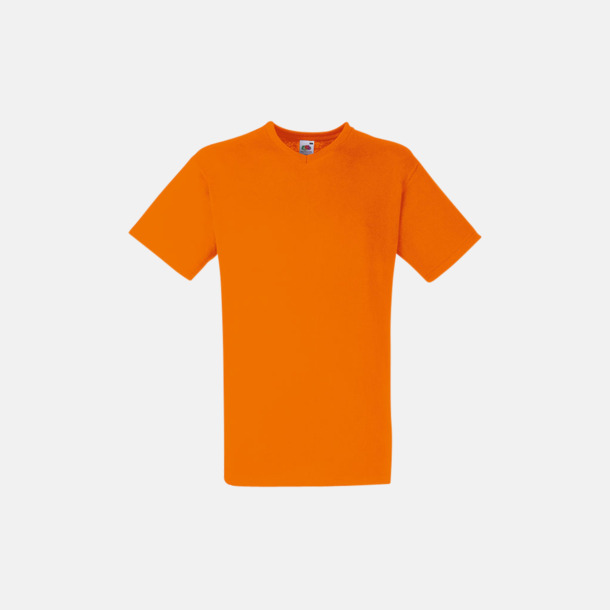 Orange V-ringad t-shirt med reklamtryck