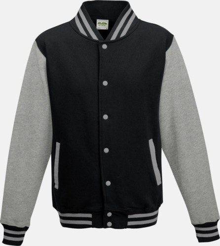 Jet Black/Heather Grey Trendiga varsity-jackor med tryck