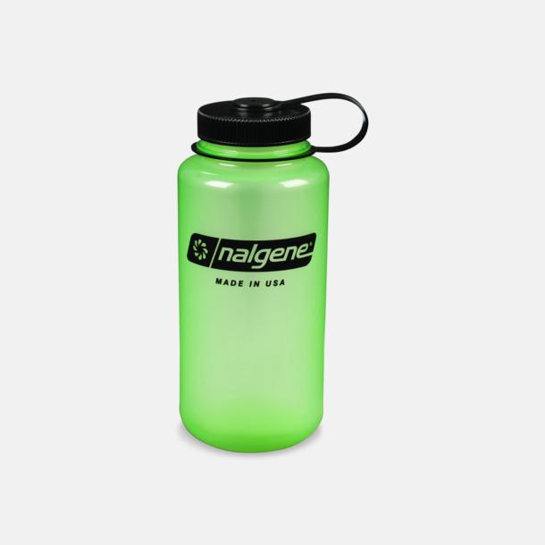Lysande Grön/Svart (1 l) Färgglada vattenflaskor med eget tryck