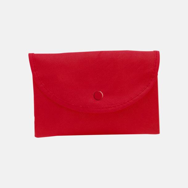 Röd (axelkasse) Vikbara non woven-påsar med knäppning - med reklamtryck