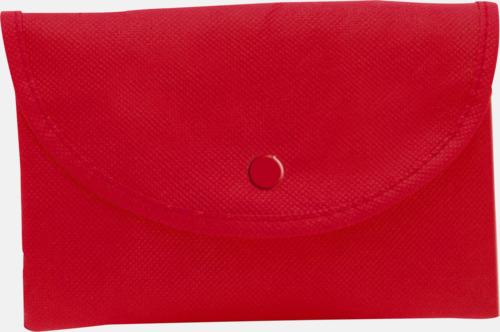 Röd Vikbara non woven-påsar med knäppning - med reklamtryck