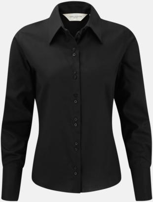Svart (långärmad) Strykfri damskjorta