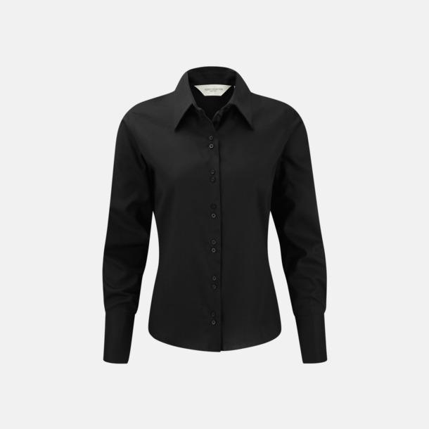 Svart (långärmad) Strykfri damskjorta med reklamlogo