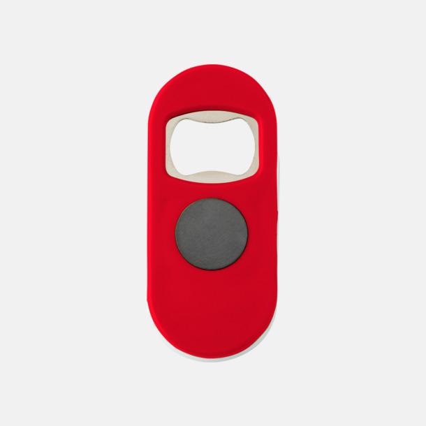 Röd / Vit Öppnare med klämma och magnet - med reklamtryck