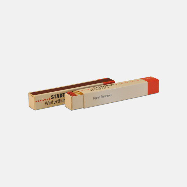 Liten (ca 12 st) Avlånga tändsticksaskar med 12 eller 20 brasstickor med reklamtryck