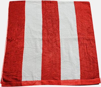 Röd/vit Randiga terry handdukar med reklambrodyr