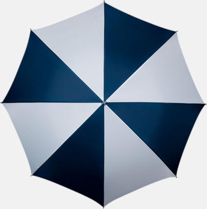Marinblå / Vit Golfparaplyer med ergonomiska trähandtag
