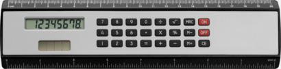 Svart / Silver Linjal med miniräknare