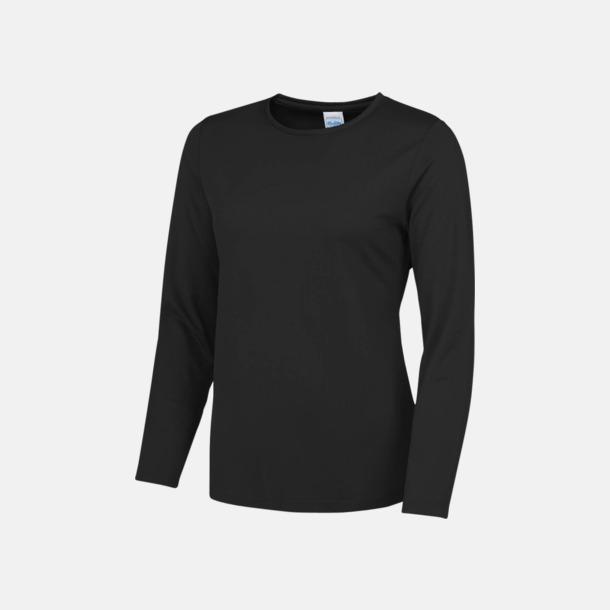 Jet Black (dam) Unisex tränings t-shirts med långa ärmar - med reklamtryck