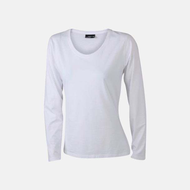 Vit (dam) Långärmade t-shirts i herr-, dam- & barnmodell med reklamtryck