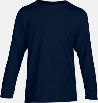 Marinblå (barn) Långärmade funktionströjor för vuxna och barn med reklamtryck