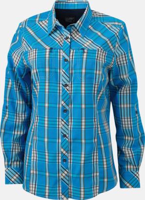 Azure/Marinblå (dam) Rutiga dam- och herrskjortor med reklamtryck