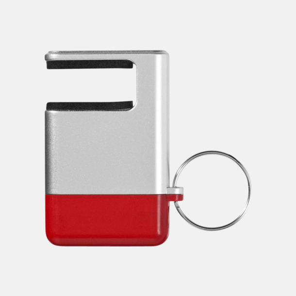 Silver / Röd Skärmrengörare, ställ och nyckelring - med reklamtryck