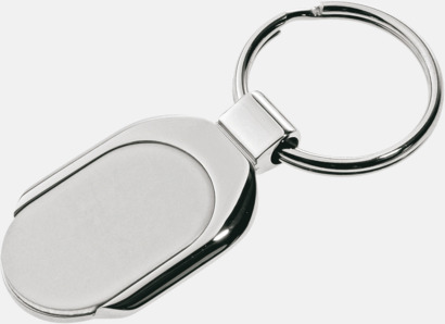Nyckelring i rostfritt stål med generös logoyta