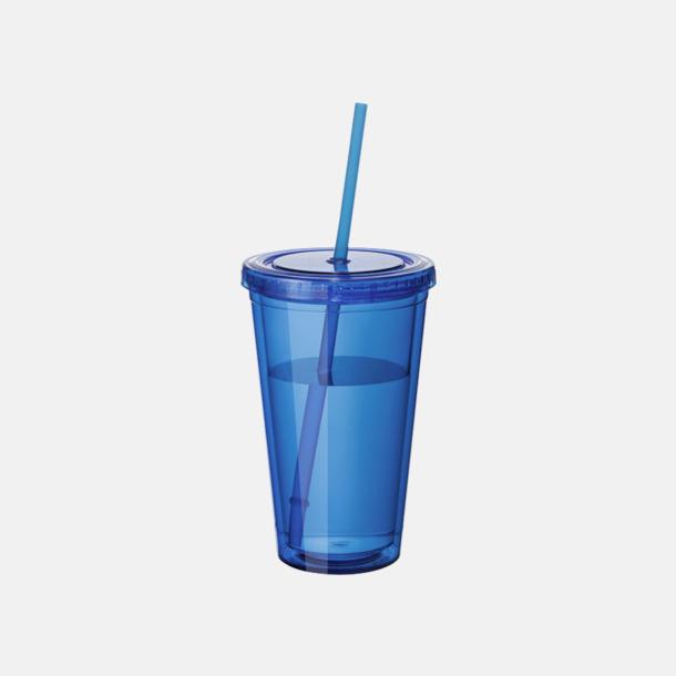 Blå (transparent) Plastmuggar med lock och sugrör - med reklamtryck