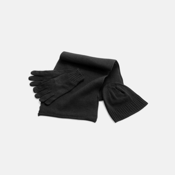 Svart Set med mössa, vantar och halsduk med reklambrodyr