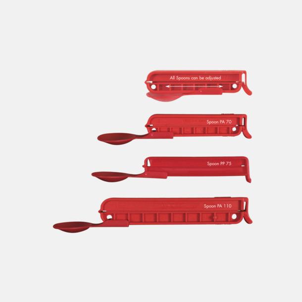 Röd Plastsked med förslutare med reklamtryck