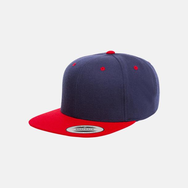 Marinblå/Röd Snapback kepsar med flexfit - med reklamtryck