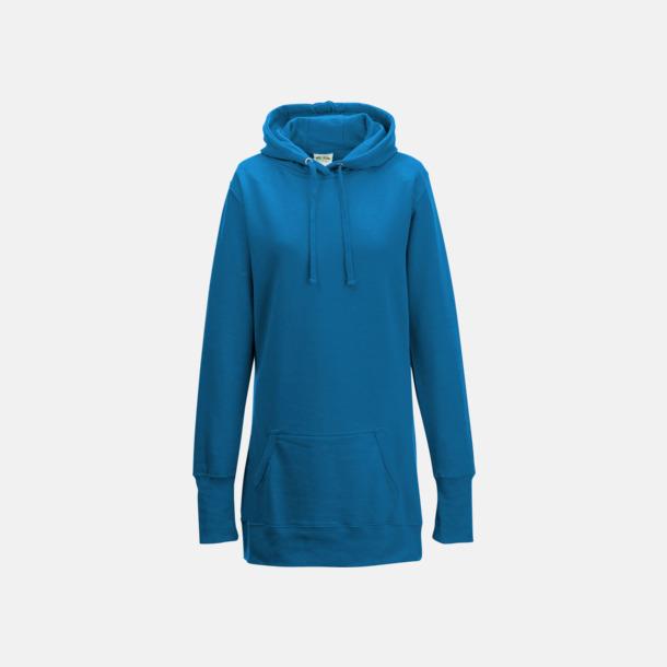 Sapphire Blue Extra långa huvtröjor i dammodell med reklamtryck