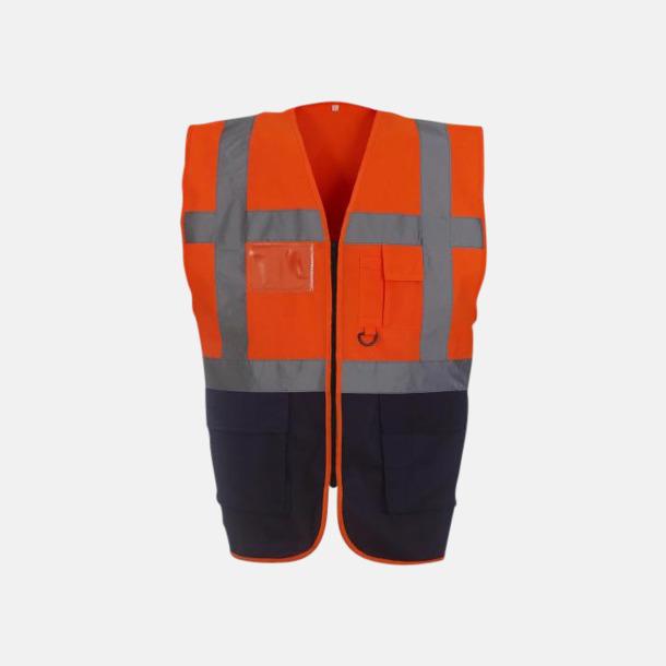Hi-Vis Orange/Svart Varselvästar med 2-färgade modeller - med reklamtryck