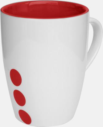 Röd (prickig) Stengodsmuggar med randig eller prickiga detaljer - med reklamtryck