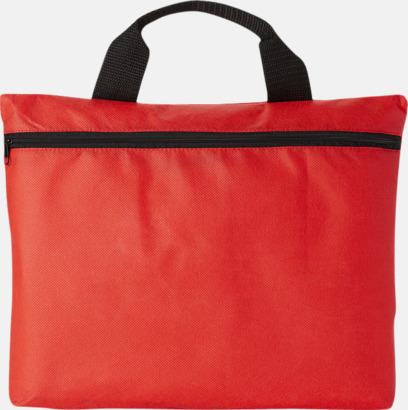 Röd (PMS 1788C) Mappväskor A4  i non woven-material med reklamtryck