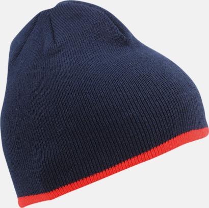 Marinblå/Röd Stickad mössa med eget tryck