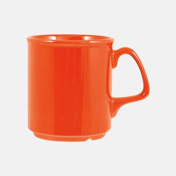Orange Billiga och stapelbara muggar med tryck