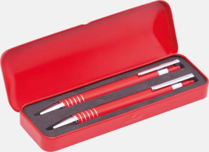 Röd Pennset med bläck- och blyertspenna i fodral