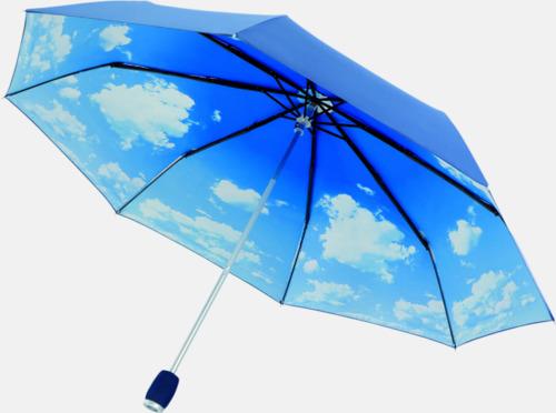 Blå / Vit Himmelska kompaktparaplyer med eget tryck
