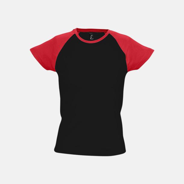 Svart/Röd (dam) T-shirts i herr- och dammodell med kontrasterande färg - med reklamtryck