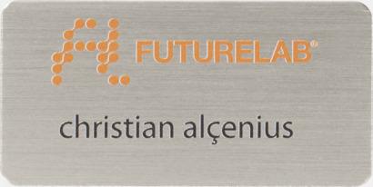 Silver Namnbrickor i metall med reklamtryck