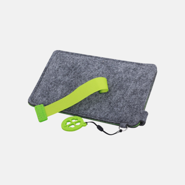 Grå/Limegrön (stor 3) Mobilfodral i filt med reklamtryck