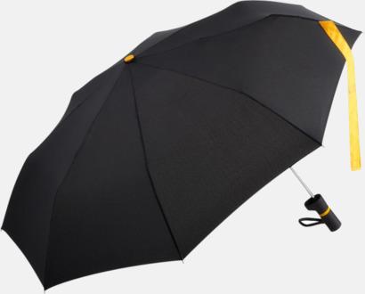 Svart / Gul Paraplyer med skaftet på sidan - med reklamtryck